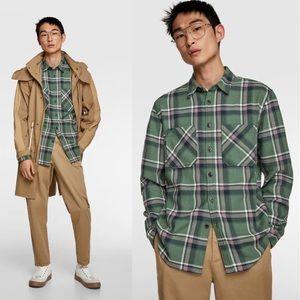 Zara Sz Md Plaid Oversized Textured Overshirt